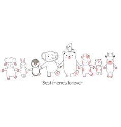 cute baby animals cartoon hand drawn style vector image