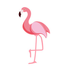 Cute pink flamingo icon vector