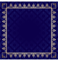 Dark blue background with ornamental frame vector