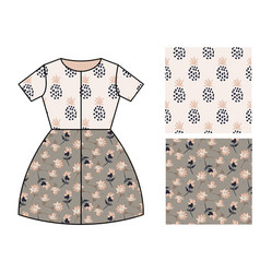Dress pattern design for girls flowers and vector