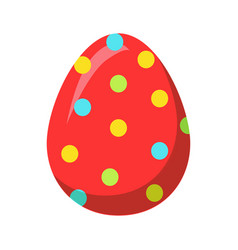 easter red egg with colorful dot decoration vector image