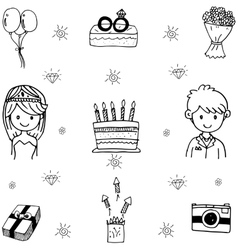 Element doodle wedding party vector