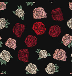 embroidery seamless pattern with roses vector image