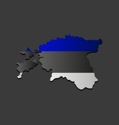 Estonian map with flag vector