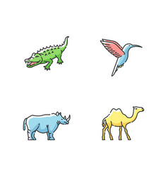 Exotic animals rgb color icons set vector