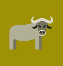 Flat icon stylish background cartoon bull vector