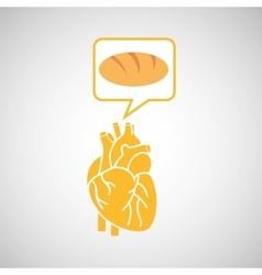 Food healthy heart bread concept design icon vector