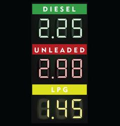 fuel prices board vector image