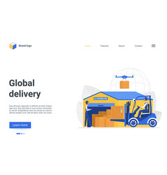 global delivery landing page warehousing business vector image