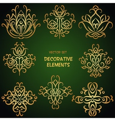 Gold festive ethnic decorative elements vector image vector image