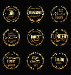golden laurel wreath collection premium quality vector image