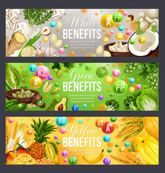 Green white and yellow color diet vitamin food vector