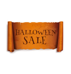 Halloween sale text on scroll greeting ribbon vector