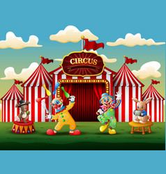 happy clowns and rabbits performance on the arena vector image