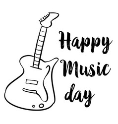 happy music day hand draw style card vector image