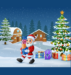 happy santa claus holding a gift boxes in christma vector image