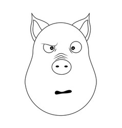 head of confused pig in outline style kawaii vector image