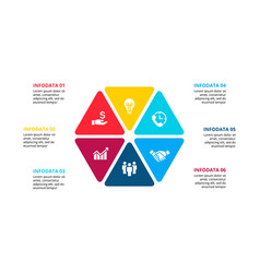 hexagon infographic with 6 options for vector image