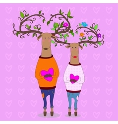 Hipster deers falling in love valentine s day vector