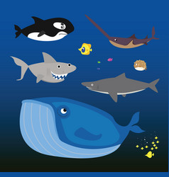 inhabitants seas and oceans vector image