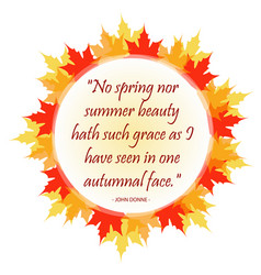 Inspirational quote inside autumn leaves vector