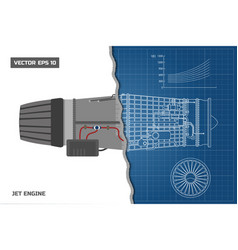 Jet engine in outline style industrial blueprint vector