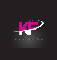 kf k f creative letters design with white pink vector image