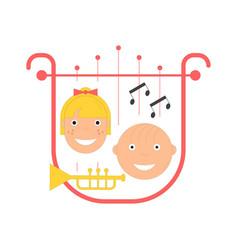 kids music festival emblem vector image