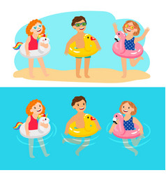 kids with animals swimming rings vector image