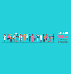 Labor day poster with people of different vector