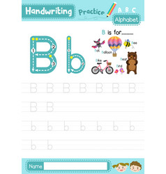 Letter b uppercase and lowercase tracing practice vector