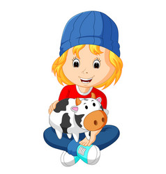Little girl holding cow bank vector