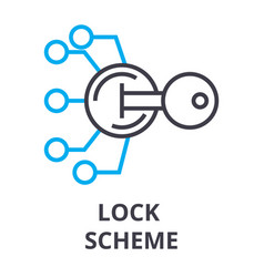 lock scheme thin line icon sign symbol vector image