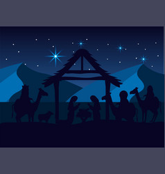 Magicians kings with mary and joseph with jesus vector