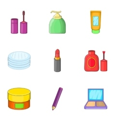 Makeup tool icons set cartoon style vector