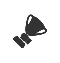 male hand holding winner cup icon flat vector image
