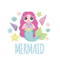 Mermaid with pink hair lol dolls vector