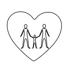 Monochrome contour of heart with family unity vector