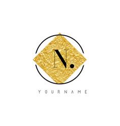 n letter logo with golden foil texture vector image