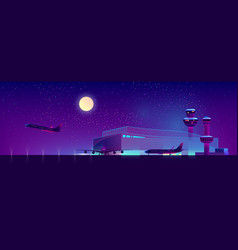 night airport in ultraviolet colors vector image