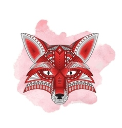 Patterned stylized silhouette of head fox vector