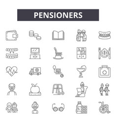 Pensioners line icons signs set outline vector