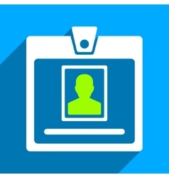 Person Badge Flat Square Icon with Long Shadow vector
