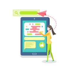 person using online smartphone tablet vector image