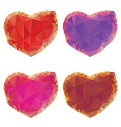 Polygonal hearts set4 vector