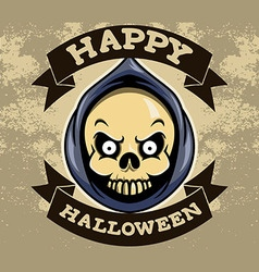 Reaper head halloween badge vector