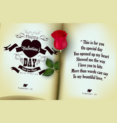 red rose with open of diary background vector image