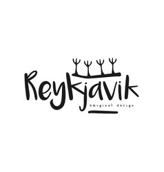 reykjavik city name original design black ink vector image