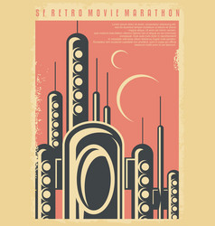 Science fiction movies festival retro poster vector
