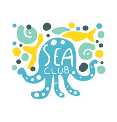 Sea club logo summer travel and sport hand drawn vector